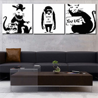 Wholesale Oil Paintng - Large size Print Oil Painting Wall painting BANKSY ART SET Home Decorative Wall Art Picture For Living Room paintng No Frame