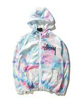 Wholesale Slimmest World - New Men World Tour Tie Dye Color Gradient Thin Coat Harajuku Ice Cream Sunscreen USA Brand Sportwear Jacket HipHop Windbreaker Hoodies