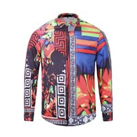 Wholesale Printed Flannel Shirt - fashion of men floral wave print overhe colour mixture luxury casual Harajuku shirts long sleeved patchwork men's medusa shirts M -2XL