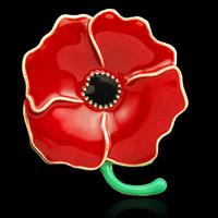 Wholesale Elegant Flower Brooch Pin - Elegant Red Enamel Poppy Brooch Hot Selling UK Rememberance Day Gift Poppy Flower Pins Broaches Elegant Pins