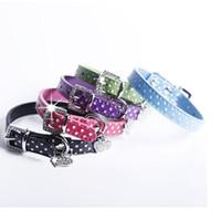 Wholesale Diamante Leather Dog Collars - Polka Dot PU Leather Dog Collars Cute Puppy Collars With Heart Diamante 5 Colors 4 Sizes WA1819