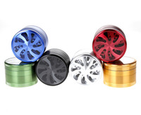 Wholesale Best Cigars - Best 4-layers 63mm Aluminum Flower Shape With Clear Window Herbal Herb Tobacco Grinder Hand Muller Smoke Cigar Magnetic Grinders Crusher