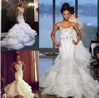Wholesale New Mermaid Wedding Gown Ruffle - 2018 New African Mermaid Wedding Dresses Plus Size Bling Crystal Beaded Court Train Bridal Gowns Organza Ruffles Tiered Skirt Bridal Dress