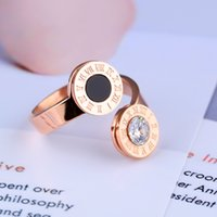 Wholesale Roma Ring - 2017 New arrival titanium steel Rose Gold plated Roma Number Ring for women set with crystal