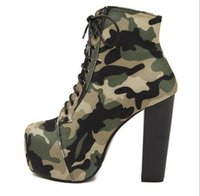 Sexy Super High Platform Frauen 14cm Bottom High Heels Schuhe Camouflage Stoff Obere Shallow Thin Heel Frauen Party Night Club Gladiator