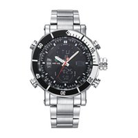 Wholesale Water Resistant Watch Analog Alarm - 2017 Fashion Stainless Steel Strap Watch Men Sports Series Multifunctional Analog Digital Alarm Watches Casual Relogio Quartz Watches WEIDE