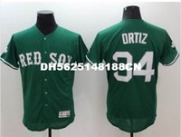 Wholesale Gray Black Jersey - top quality men jersey 100% Stitched 34 David Ortiz Flexbase Baseball jersey Color red blue green gray black