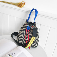 Wholesale tote bags stripped - 2017 New Fashion women handbags totes shoulder bag drawstring colours strip crossbody bags free shipping bags wholesale