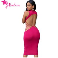 Wholesale Club Body Dresses - DearLover knee-length body-hugging sexy night clubwear robe Magenta Open Back Bodycon Midi Dress vestido verao moda 2016 LC60771 17410
