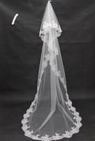 Wholesale Wedding Dresses For Sale Long - Promotional Hot Sale Cheap Applique Lace Bridal Veils Wedding Veil Long for Bride Dresses Wedding Accessories