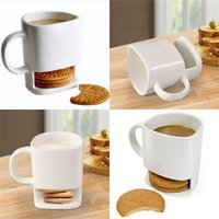 Wholesale Biscuit Cup Wholesale - Ceramic Biscuit Cups Coffee Cookies Milk Dessert Cup Tea Cups Bottom Storage Mugs for Cookie Biscuits Pockets Holder Kids Cups YYA628