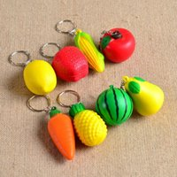 Wholesale Mobile Key Chains - Mobile phone hanging fruit Pu foam ball creative key chains, Watermelon pear lemon pineapple carrot corn apple tomato keychains