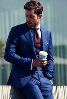 Wholesale Mens Tuxedo 54 Costume - Royal Blue Blazer Masculino Slim fit Mens Suits Wedding Groom Costume Homme 3 Pieces Best Man Groomsmen Tuxedos (Jacket+Pants+Vest)