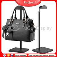 Wholesale Bag Hanger Black Window Display Store Racks Stainless Steel Thick Base GG006E Fugui Showcase display stands