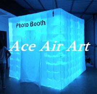 Wholesale China Wedding Party Suppliers - China Suppliers 2.4m x2.4m x2.4m Inflatable photo booth Photograph Cube tent for Party or Wedding and advertising with LED lights