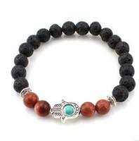 Wholesale Nature Stones Beads - Mens Matte Black Agate Beads Bracelet,Golden palm Nature stone Bracelet Jewelry, Black Lava Rock Beads Bracelet, Stretch Bracelet