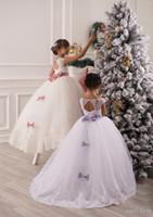 flowergirl kleidet elfenbein großhandel-Lange Prinzessin Ivory White Lace Flowergirl Kleider Junior Blumen Mädchen Kleider Kleider für Brautkleider Erstkommunion Kleider