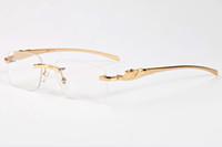 Wholesale Plain Fashion Glasses For Women - 2017 fashion sunglasses for men women brand designer metal legs semi rimless plain sun glasses unisex fashion buffalo horn glasses gafas de