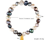 Wholesale Irregular Bangle - Natural fresh water irregular Pearl bracelets Little Bear bangles bracelets with detail package many colors can choose