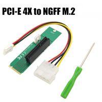 pci e express toptan satış-PCIE pci-express PCI Express PCI-E 4X Kadın x 4 NGFF M.2 M Anahtar Erkek Adaptörü Dönüştürücü Kartı Ile Güç Kablosu