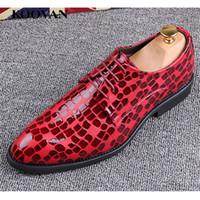 Wholesale White Lace Mosaic - Fashion Business Shoe Mosaic pattern Dress Shoe Fashion Man Mix-Color Leather Shoes High Quality 2017 Autumn European Soft Bottom M055