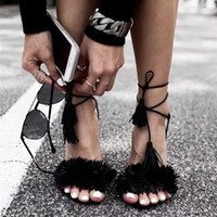 Women black fashion blogs - 2017 summer tassels tied with sandals color exposed toe velvet fine with sandals star blog with the paragraph women shoes