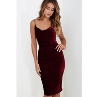 Wholesale Velours Dress - High Quality Women 2017 New Sexy Fashion Autumn Sleeveless Spaghetti Strap Evening Party Mid Velvet Dress Robe Velours Strap plus size S-XL