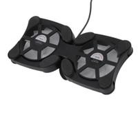 dizüstü bilgisayar için soğutma fanı standı toptan satış-Katlanabilir USB Soğutma Fanı Mini Ahtapot Dizüstü Soğutucu Soğutma Pad Emniyet Standı Çift Hayranları Için 7-15 inç Dizüstü Dizüstü