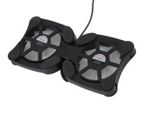 doble ventilador de refrigeración pad al por mayor-Ventilador de Enfriamiento USB plegable Mini Pulpo Enfriador de Enfriador de Enfriamiento Soporte de Seguridad Ventiladores Dobles Para Portátiles de 7-15 pulgadas Portátil