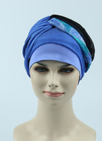 Wholesale Dyed Hair Wigs - Hot sell Stretchy women breast chemo hat hair loss breathable bamboo cotton jersey scarf bandana wig turban Alopecia headcover