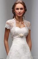 fildişi dantel bolero kısa kollu toptan satış-2015 Yeni Kısa Kollu Beyaz / Fildişi Düğün Ceket Dantel Şal Bolero Gelin Wrap Custom