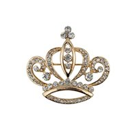 Wholesale Black Cross Lapel Pin - Women's Elegant Gold Tone Crystal Crown Shape Brooch Pins,Jewelry Corsage Lapel Pin