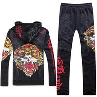 Wholesale Hooded Skeleton - New Men's Ed hardy Casual Tracksuits   ED Sports Casual Set   ED HARDY Men's Teenager Skeleton Tracksuits Hoodies And Pants