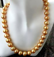Wholesale Golden Akoya Pearls - Akoya natural seawater pearl jewelry 19inches 10-11 mm round very light pearl sweater chain golden pearl necklace