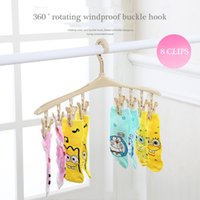 Wholesale 8 clips Windproof hanger Clothes folder Multifunctional plastic hangs Clothes drying rack Underwear Socks Clothes racks