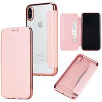 Wholesale Transparent Flip Cover Phone - Luxury Phone Case For iPhone 8 7 7plus Transparent Plating Soft TPU Flip Leather Cover Phone Case For samsung S8 S8 plus S7