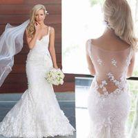 Wholesale Sexy Seductive - Cheap Mermaid Wedding Dresses 2017 Seductive Sheer V Neck Illusion Lace Appliques Sweep Train Beach Bridal Gowns Vestido De Noiva