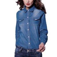 Wholesale Women Denim Slim Jean Shirt - Wholesale- 2016 Spring New Fashion Women Jean Shirts Blouse Women's Denim Shirts High-End Washing Long-Sleeved Denim Shirt