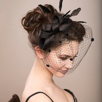 Wholesale Fascinators Veils - 2017Bridal Wedding Hats Fascinators For Woman Black White Party Lace Patchwork Flower Sinamay Feather With Veil Headdress