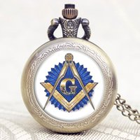 Wholesale Masonic Pocket Watches - Wholesale-2016 New Arrival Masonic FreeMason Freemasonry Vintage Retro Bronze Glass Mini Small Pocket Watch with Chain Necklace