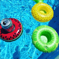 Wholesale floating pool mats - PVC Inflatable Drink Cup Holder 7 styles Donut Flamingo Watermelon Pineapple Lemon Shaped Floating Mat Floating Pool Toys