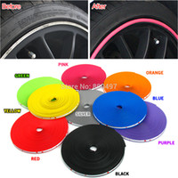 Wholesale tire accessories - Wholesale- 8M   Lot New Car Styling Auto Accessories Car Wheel Rim Wheel Ring Tire WheelProtector Fashion and Beauty Wheel Rims Protector