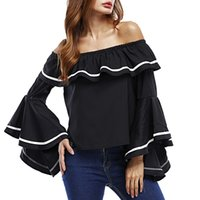 Wholesale T Shirt Ruffle Sleeve - Wholesale 2017 Sexy Women Summer Slash Neck Strap Off Shoulder Ruffles T-Shirts Casual New Flare Sleeve Solid Loose Tops Blusas Plus Size