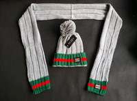 Wholesale Mixed Winter Scarves - Wholesale Winter Brand Unisex Women and Men Beanies&Scarf two Sets Pom-Pom Skull Caps Hats with Original Tag Accept Mix Order