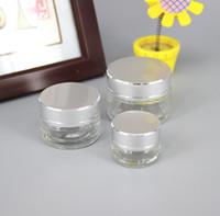 Wholesale Eyeshadow 5g - 5g 10g 20g 30g 50g glass Empty Face Cream Jar Cosmetic bottle Make-up Eyeshadow Lip Balm Container Bottle Travel