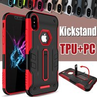 Wholesale kickstand double - Kickstand Case 2 in 1 Double Layer Stand Holder Shockproof Rugged Armor Rubber Hybrid Hard PC + TPU Heavy Duty Cover For iPhone X 8 7 Plus