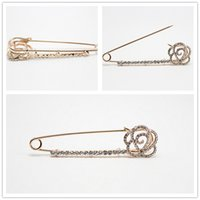 Wholesale Wholesale Flower Pins - 10pcs Crystal Flower Bowtie Knot Breastpin Brooch Fashion Safty Pin