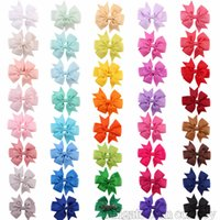 Wholesale Hair Ribbon Dhl - Free DHL Baby Girls Bow Hairpins 3.2inch Grosgrain Ribbon Bows With Alligator Clips Children Hair Accessories Kids Boutique Barrettes KFJ17