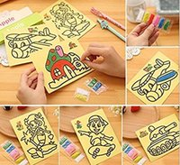 Wholesale Diy Painting Kids - 10Pcs lot 20.5x15cm Colored Sand Painting Drawing Toys Sand Art Kids Coloring DIY Crafts Learning Education Color Sand Art Painting Cards Se