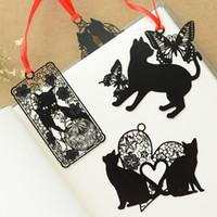 marca livros venda por atacado-100 pçs / lote Dos Desenhos Animados gato preto marcadores de metal para livros Notebook guia livro marca Papelaria material Escolar marcador de livro